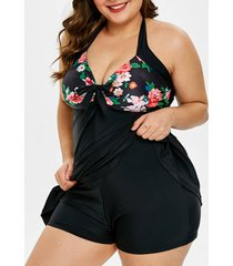 plus size floral print padded swimsuit