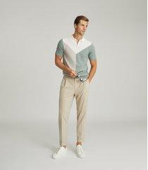 reiss butler - colour block zip neck polo shirt in sage, mens, size xxl
