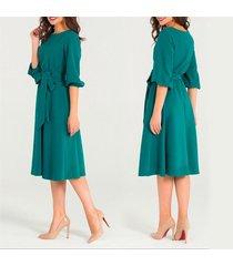 cordón manga linterna o-cuello vestido mujer soild hasta la rodilla-verde