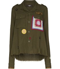 amiri appliqué detail military jacket - green