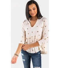 cora floral babydoll blouse - ivory