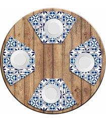 jogo americano love decor para mesa redonda wevans ladrilhos abstratos kit com 4 pçs