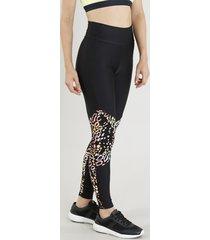 calça legging feminina esportiva ace com recorte animal print preta
