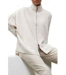 women's lafayette 148 new york zip front metallic cashmere poncho, size one size - beige