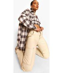 marineblauwe geruite bralette en oversized geruite blouse set, navy
