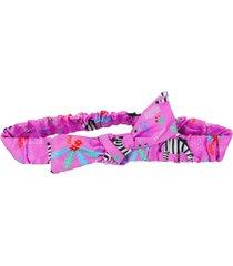 faixa de cabelo ecokids place com elã¡stico e laã§o zebra rosa - rosa - menina - dafiti