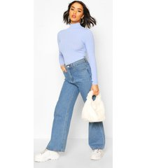 long sleeved turtle neck rib top, blue
