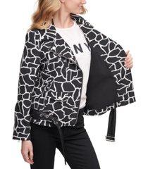 dkny animal-print moto jacket