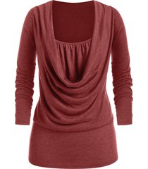 plus size draped front long sleeve tunic tee