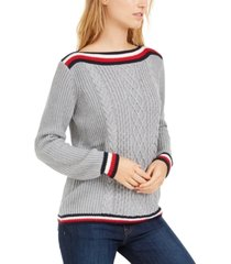 tommy hilfiger striped cable-knit sweater, created for macy's
