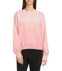 women's kenzo imitation pearl logo cotton sweatshirt