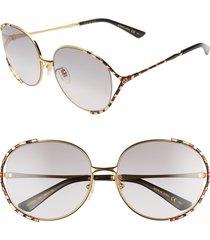 women's gucci 59mm gradient round sunglasses - gold/ grey gradient