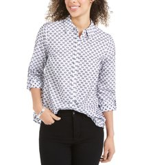 charter club linen printed textured shirt, created for macy's