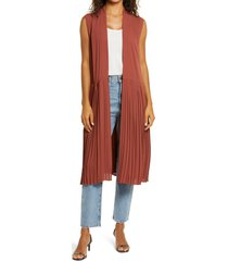 women's chelsea28 pleated sleeveless long jacket, size large/x-large - brown