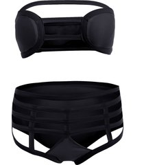 cut out strapless bathing suit bikini set