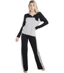 pijama feminino de manga longa bicolor preto e mescla