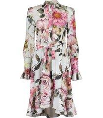 floral cotton hi low shirt dress