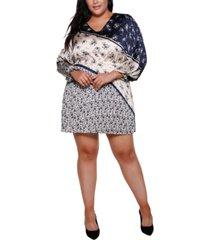 belldini black label plus size pleated long blouson sleeve v-neck dress