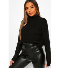 petite oversized gebreide trui met knopen en hoge kraag, black