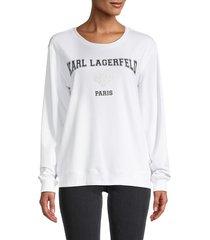 karl lagerfeld paris women's logo sweatshirt - white - size xxs