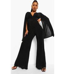 strakke wide leg jumpsuit met cape en textuur, black