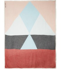 marine geometric print scarf