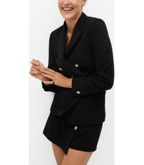 mango women's cross button blazer