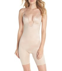 women's spanx suit your fancy plunge low-back mid-thigh bodysuit, size x-small - beige