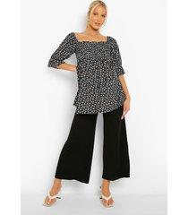 zwangerschap jersey culottes met super wijde pijpen, black