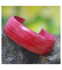 leather cuff bracelet, 'annula in pink' (ghana)