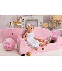 sofa różowa pikowany velvet
