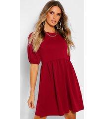 gesmokte jurk met pofmouwen, berry