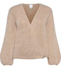 huurre handknitted wrap knit stickad tröja cardigan beige hálo