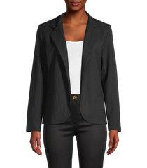 love ady women's pinstripe open-front blazer - black - size s