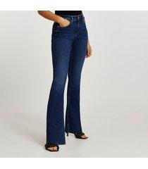 river island womens dark blue mid rise flare jeans
