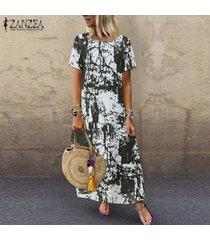vestido camisero estampado floral zanzea para mujer vestido étnico vintage de verano -verde
