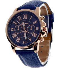 reloj mujer analogo numeros romanos - color azul oscuro