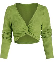 ribbed front twist short sweater