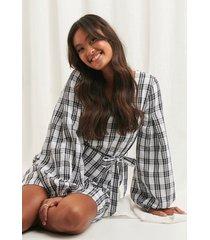 na-kd boho structured check dress - black,white