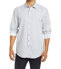 men's rodd & gunn rosedale original fit print button-up shirt, size medium - white