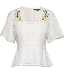 pf eka embroidered ggt top blouses short-sleeved vit french connection