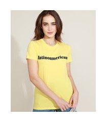 "t-shirt feminina mindset latinoamericana"" flocada manga curta decote redondo amarela"""