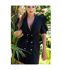 sexy blazer jurk met puff mouwen zwart