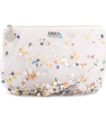 mm6 maison margiela tulle confetti clutch - white