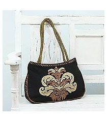 embroidered shoulder bag, 'indian elegance' (india)