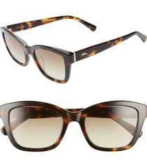 women's longchamp heritage 53mm square sunglasses - havana