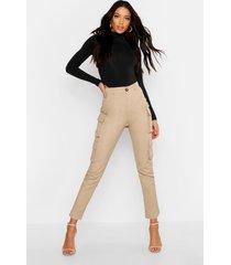 skinny utility broek met hoge taille en zakje, zand