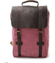 mochila para hombre, lona y cuero mochila unisex-rojo