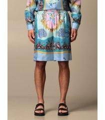 versace short versace shorts in trésor de la mer patterned silk