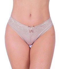 calcinha em cotton vip lingerie renda sobreposta bege - kanui